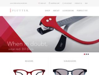 fluttereyewear.com screenshot