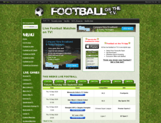 footballonthetv.co.uk screenshot