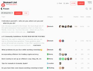forum.nomadlist.io screenshot