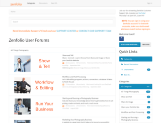 forum.zenfolio.com screenshot