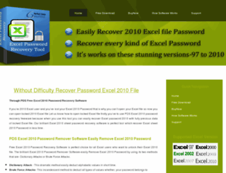 free.excel2010passwordrecovery.com screenshot
