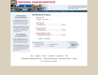fundedresearch.cancer.gov screenshot