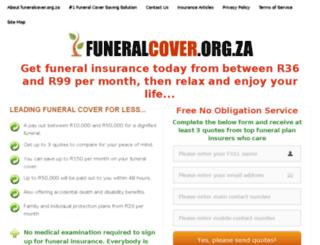 funeralcover.org.za screenshot