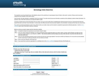 genealogy.ehealthsask.ca screenshot