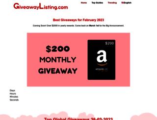 giveawaylisting.com screenshot