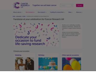 giveincelebration.cancerresearchuk.org screenshot