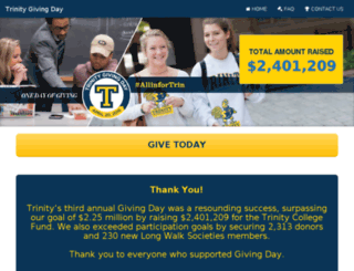givingday.trincoll.edu screenshot