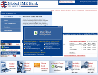 globalbank.com.np screenshot