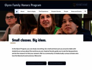 glynnhonors.nd.edu screenshot