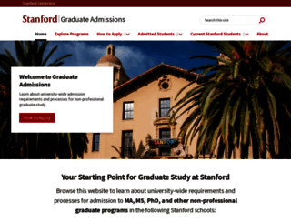 gradadmissions.stanford.edu screenshot