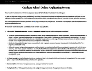 graduateapplication.rockefeller.edu screenshot