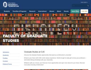graduatestudies.concordia.ab.ca screenshot