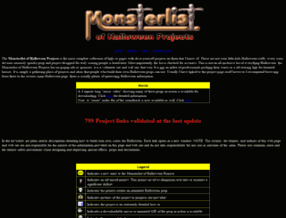 halloweenmonsterlist.info screenshot