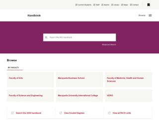 handbook.mq.edu.au screenshot