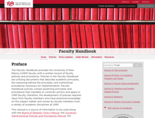 handbook.unm.edu screenshot