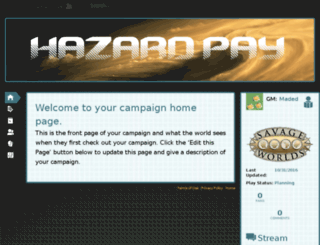 hazard-pay.obsidianportal.com screenshot