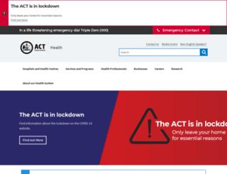 health.act.gov.au screenshot
