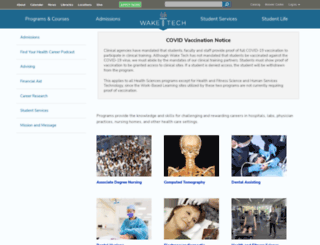health.waketech.edu screenshot