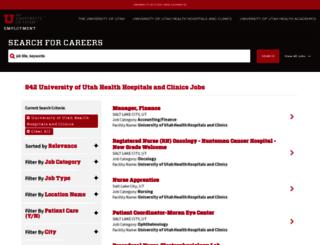 healthcarejobs.utah.edu screenshot