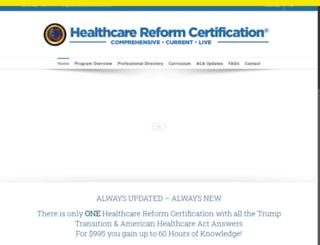 healthcarereformcertification.com screenshot
