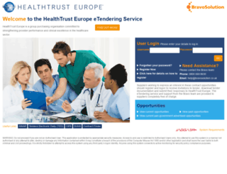 healthtrusteurope.bravosolution.co.uk screenshot