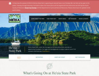 heeiastatepark.org screenshot