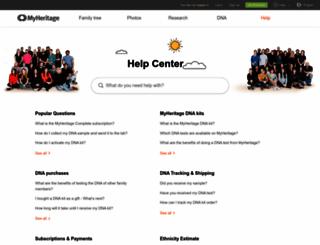 helpcenter.myheritage.com screenshot