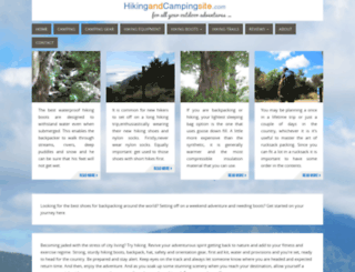 hikingandcampingsite.com screenshot