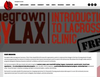 homegrownlacrosse.org screenshot