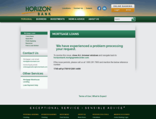 horizonbank.mortgagewebcenter.com screenshot