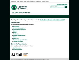 humanities.exeter.ac.uk screenshot