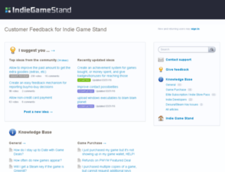 indiegamestand.uservoice.com screenshot