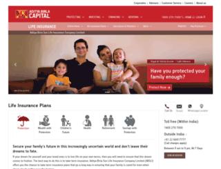 insurance.birlasunlife.com screenshot