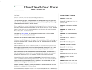 internetwealthcrashcourse.com screenshot