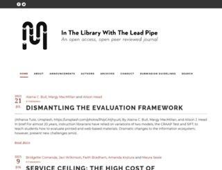 inthelibrarywiththeleadpipe.org screenshot