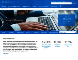 investor.agilent.com screenshot