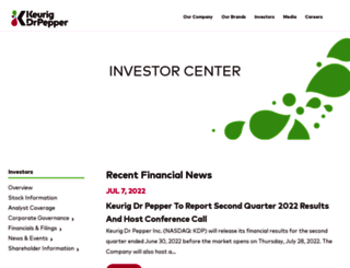 investor.drpeppersnapplegroup.com screenshot