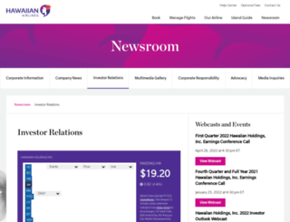 investor.hawaiianairlines.com screenshot