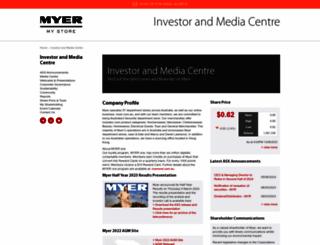 investor.myer.com.au screenshot