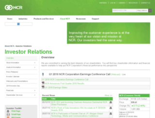 investor.ncr.com screenshot
