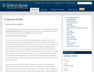 investor.townebank.com screenshot