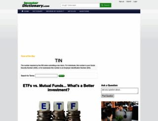 investordictionary.com screenshot