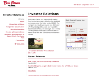 investors.bobevans.com screenshot