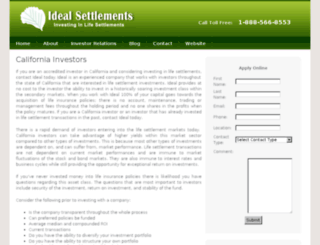 investors.idealsettlements.com screenshot