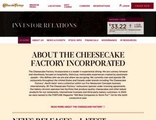 investors.thecheesecakefactory.com screenshot