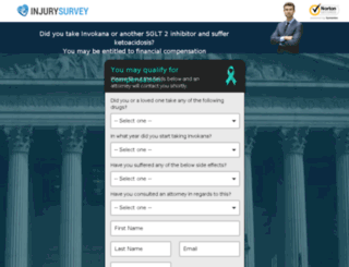 invokana.injurysurvey.com screenshot