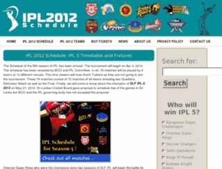 iplschedule2012.in screenshot