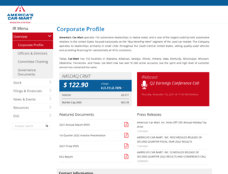 ir.car-mart.com screenshot