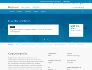 ir.ringcentral.com screenshot