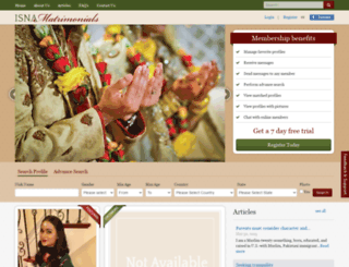 isnamatrimonials.net screenshot